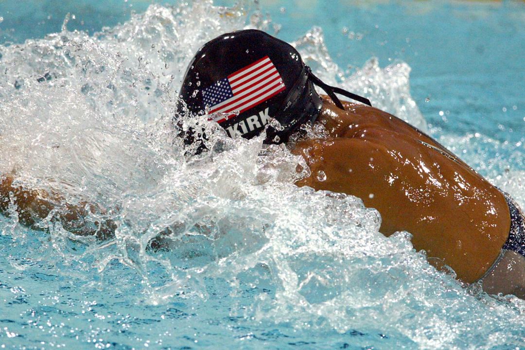 U.S. swimmer Tara Kirk Sells swims breaststroke in the 2004 Summer Olympics, where she earned a silver medal