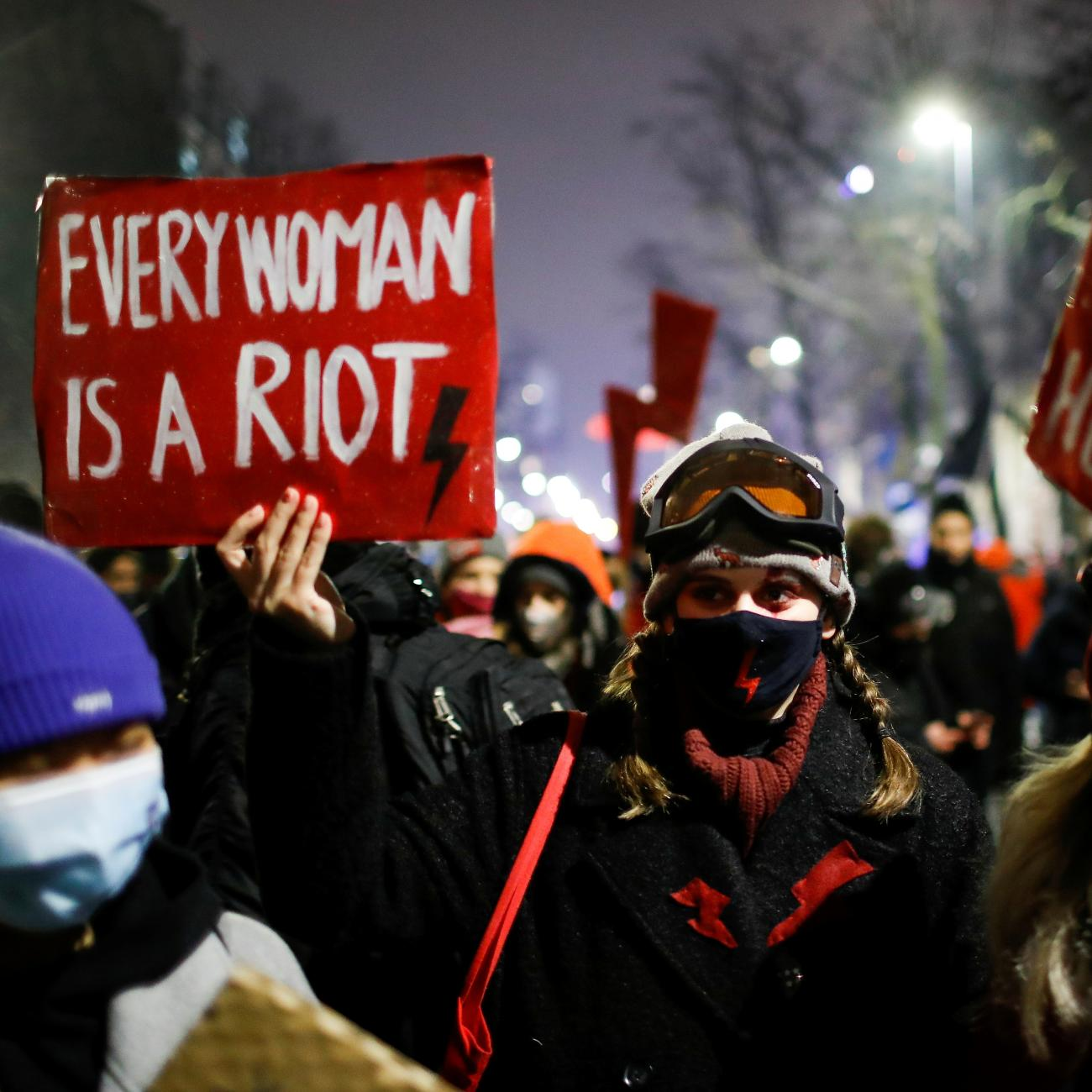 A demonstrator holds a placard during a protest against the verdict restricting abortion rights in Warsaw, Poland, January 28, 2021.