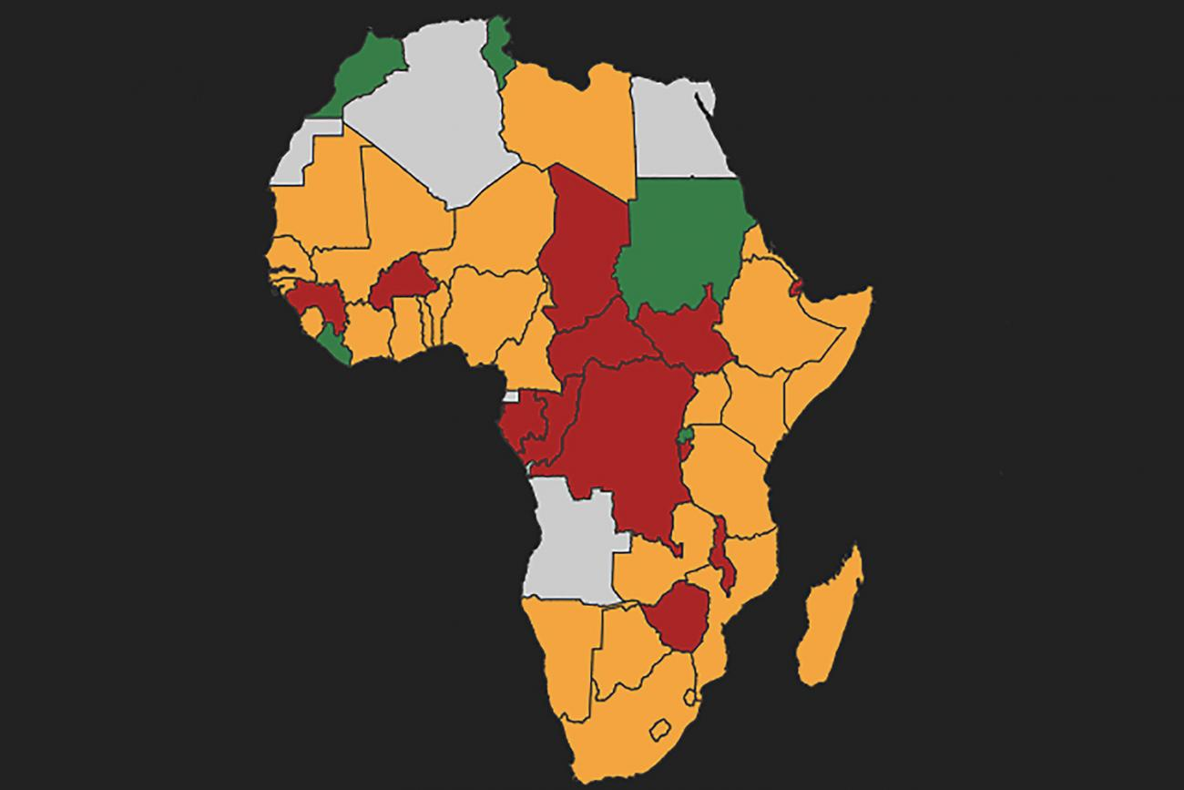 Average level of preparation of the health system capacities for responding to an infectious epidemic, as measured by Joint External Evaluations of national progress in meeting targets of the International Health Regulations. Photo shows a map of Africa with different countries colored one of four colors according to the data. GIDA/Georgetown Infectious Disease Atlas