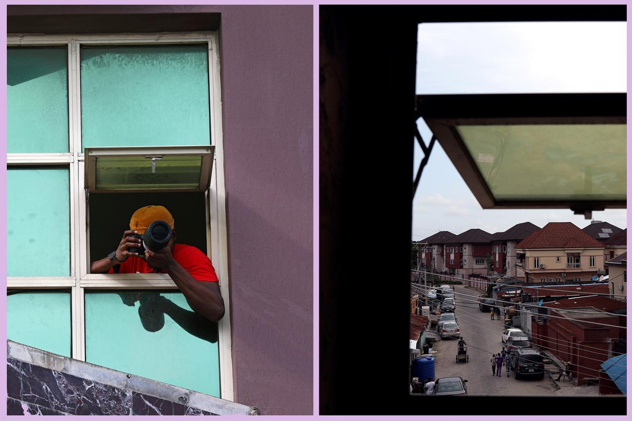 A combination picture shows Adetona Omokanye, a 29 year-old documentary photographer, taking pictures from the window of his home in Lagos, Nigeria, on May 24, 2020—along with a shot from inside. Photo is a split screen showing the photographer leaning out the window taking a picture and also a shot from inside looking out at what he was seeing. REUTERS/Temilade Adelaja