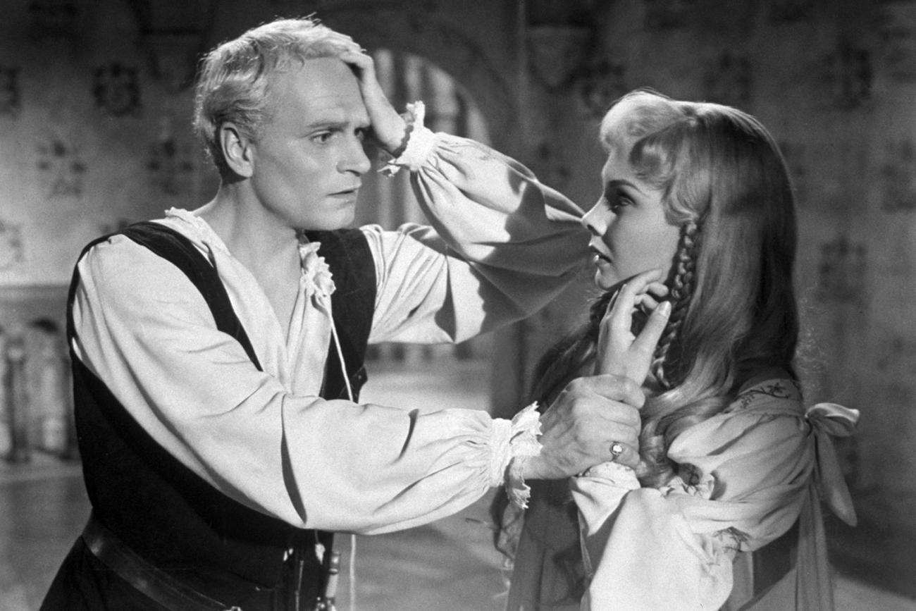 [Image 16 x 9 = The prince of Denmark's anguish is apparent in this 1948 photo of Laurence Olivier (1907–1989) and Jean Simmons (1929–2010) as Hamlet and Ophelia in Olivier's filmed version of Shakespeare's play. Photo shows a distraught looking Olivier and a concerned Simmons on a sound stage in this production still. (Photo by Hulton Archive/Getty Images)
