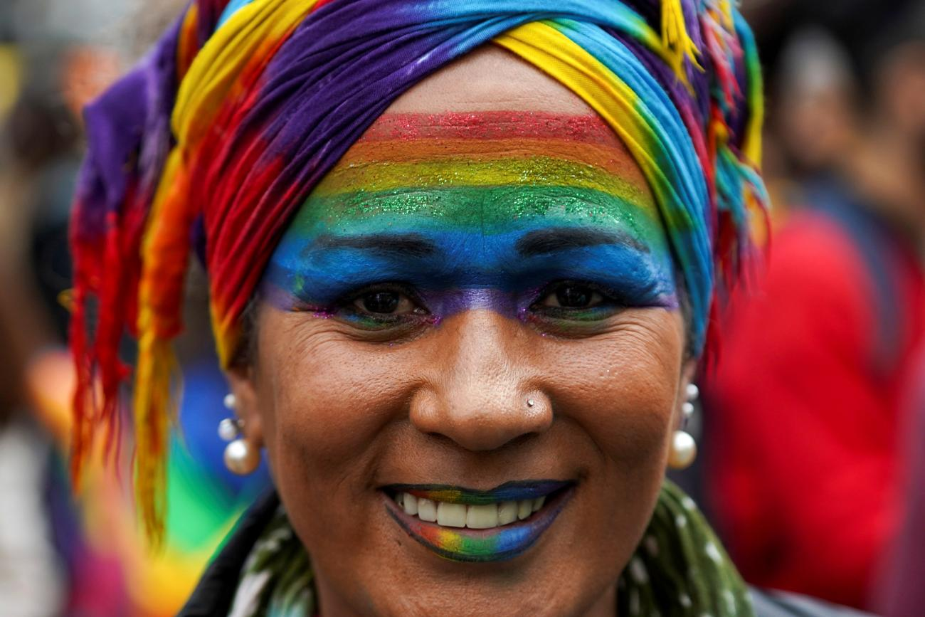 A member of the LGBT community participates in the annual Diversity March, which this year has been downscaled amid the coronavirus disease (COVID-19) pandemic, in downtown Montevideo, Uruguay September 25, 2020.