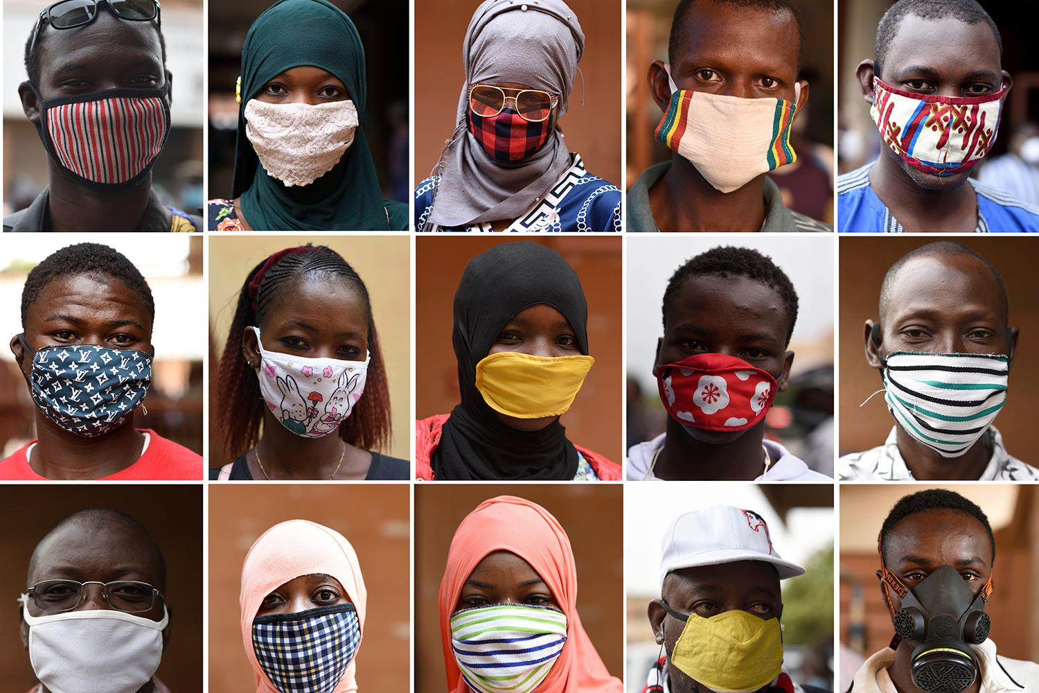 Combination of photos show people wearing face masks at the re-opening of the Rood-Wooko city central market, amid the spread of coronavirus in Ouagadougou, Burkina Faso, on April 20, 2020. The picture is a photo montage showing an array of people wearing a variety of masks. REUTERS/Anne Mimault