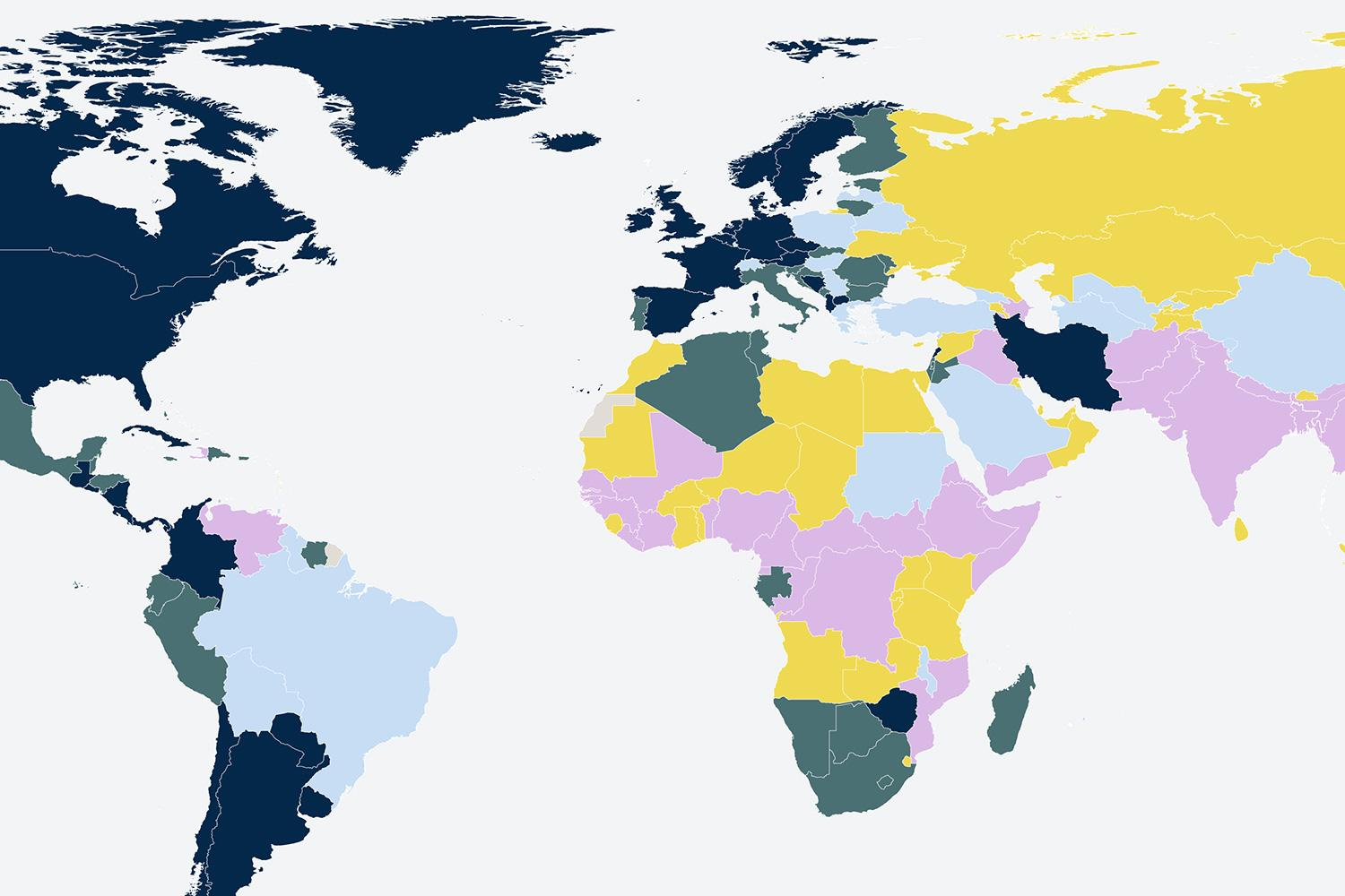 Image shows a map of the world color coded according to percent of government spending on health in 2017.