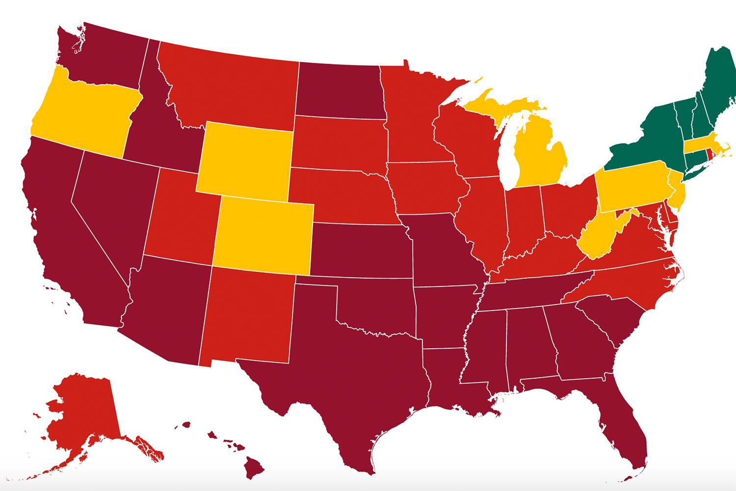 Each state's progress towards reduction in symptoms and cases, health system readiness, and increased testing. The image shows a map of the united states with four colors according to outbreak status. SOURCE: Covid Exit Strategy