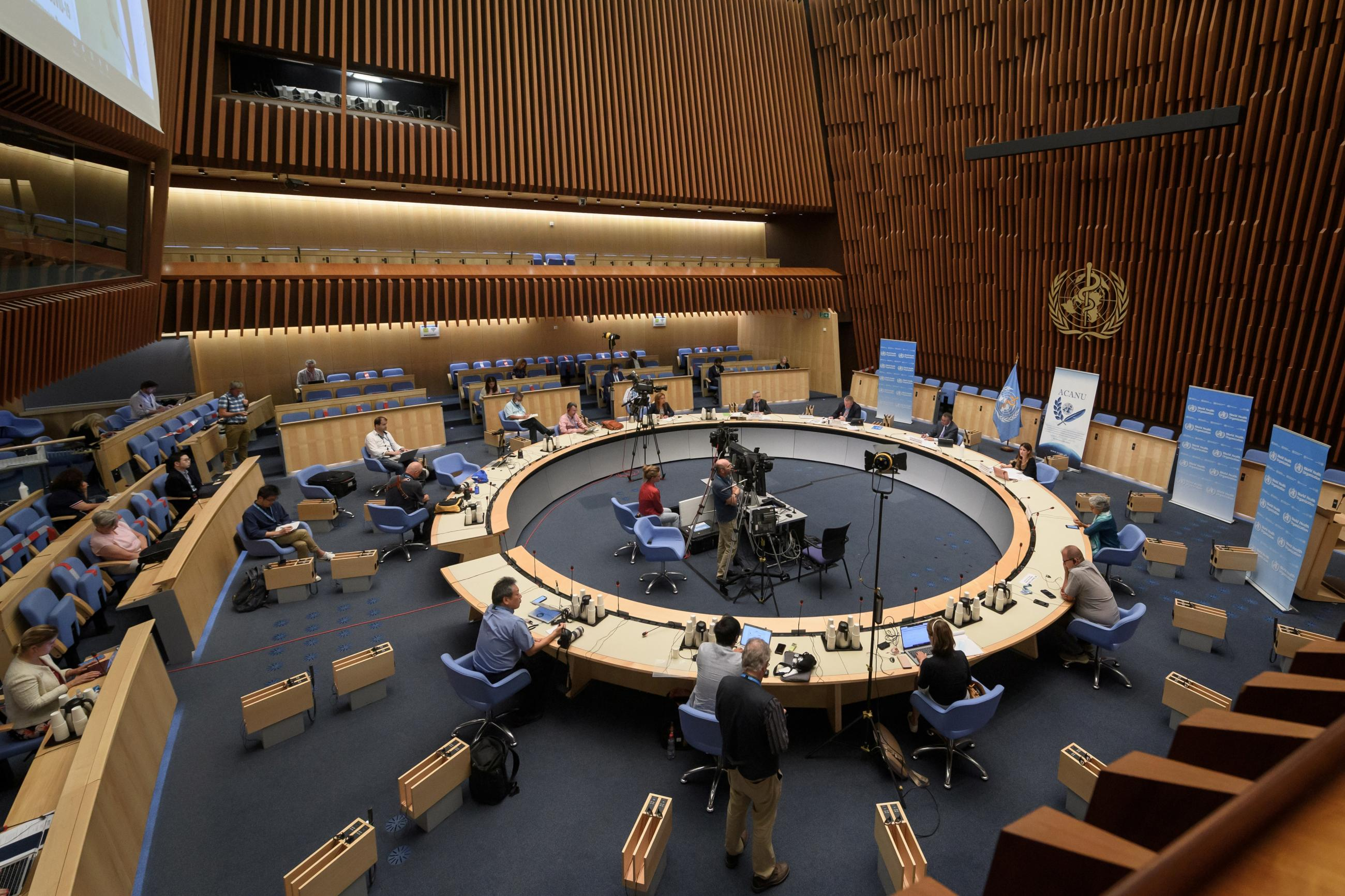 General view during a press conference of the World Health Organization (WHO) organised by the Geneva Association of United Nations Correspondents (ACANU) amid the COVID-19 outbreak, caused by the novel coronavirus, at the WHO headquarters in Geneva Switzerland July 3, 2020.
