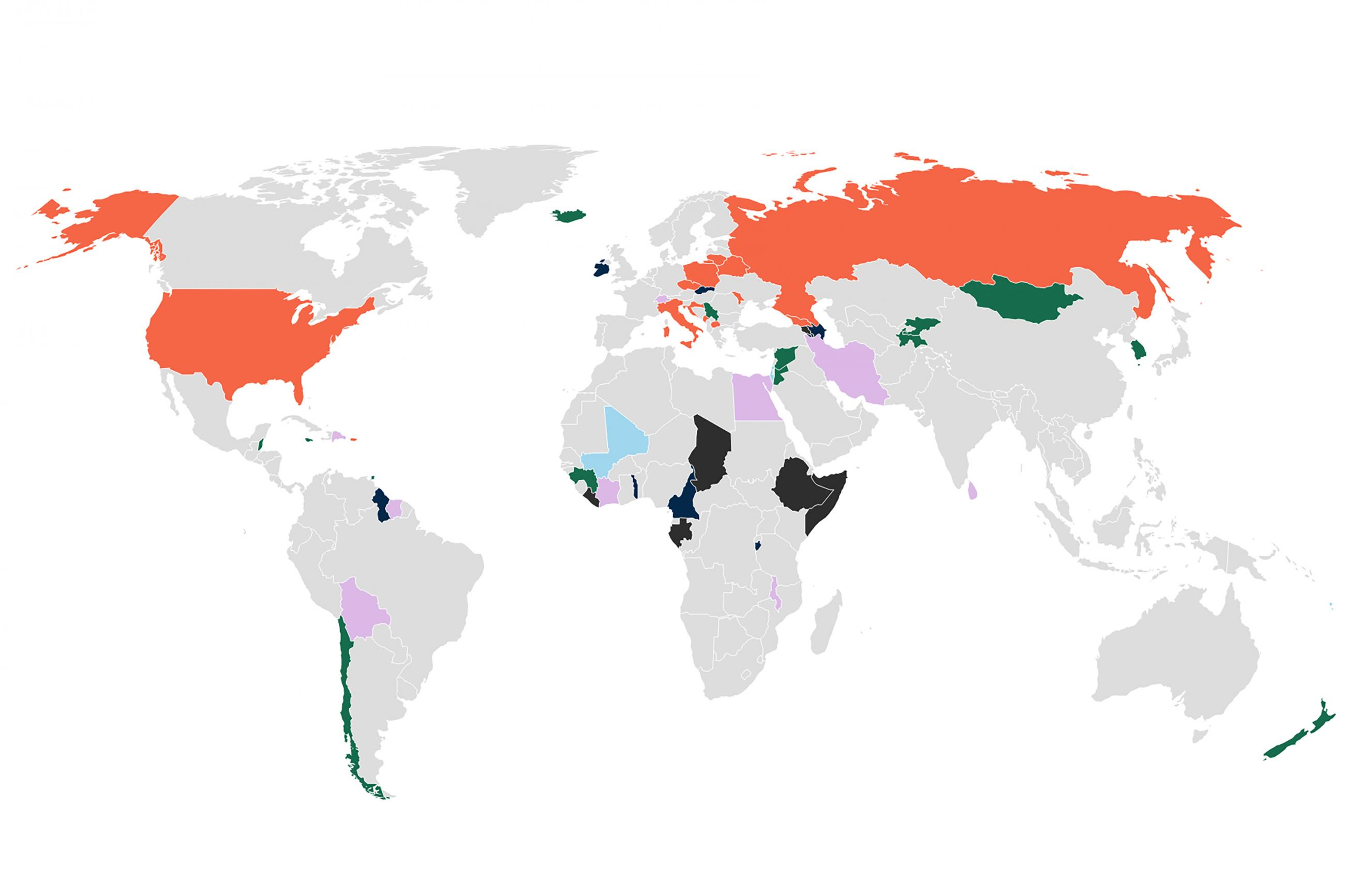 World map shows colors that correspond to the number of health security measures countries took during national elections in 2020.