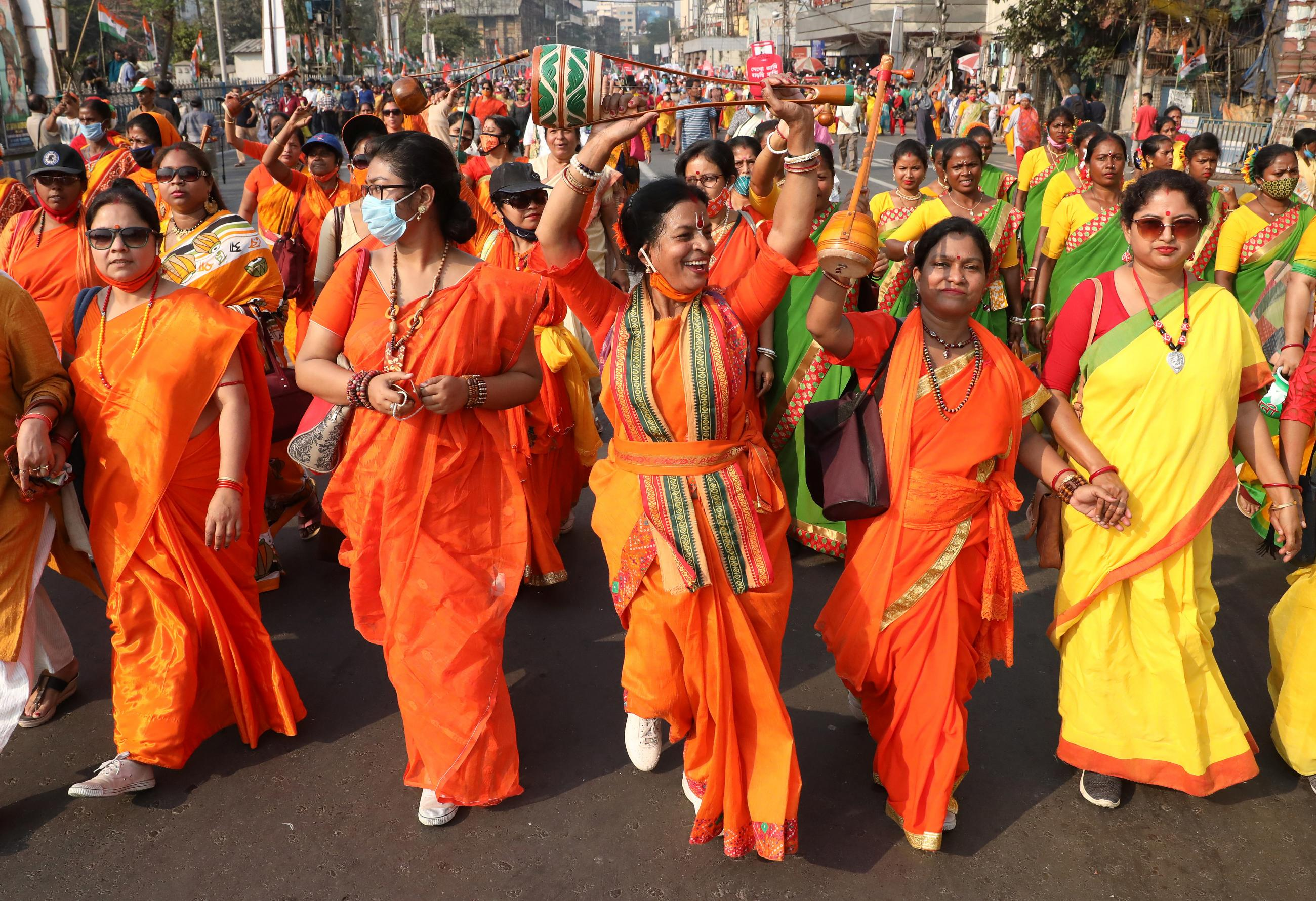 Women attend a protest march on the occasion of International Women's Day in Kolkata, India on March 8, 2021.