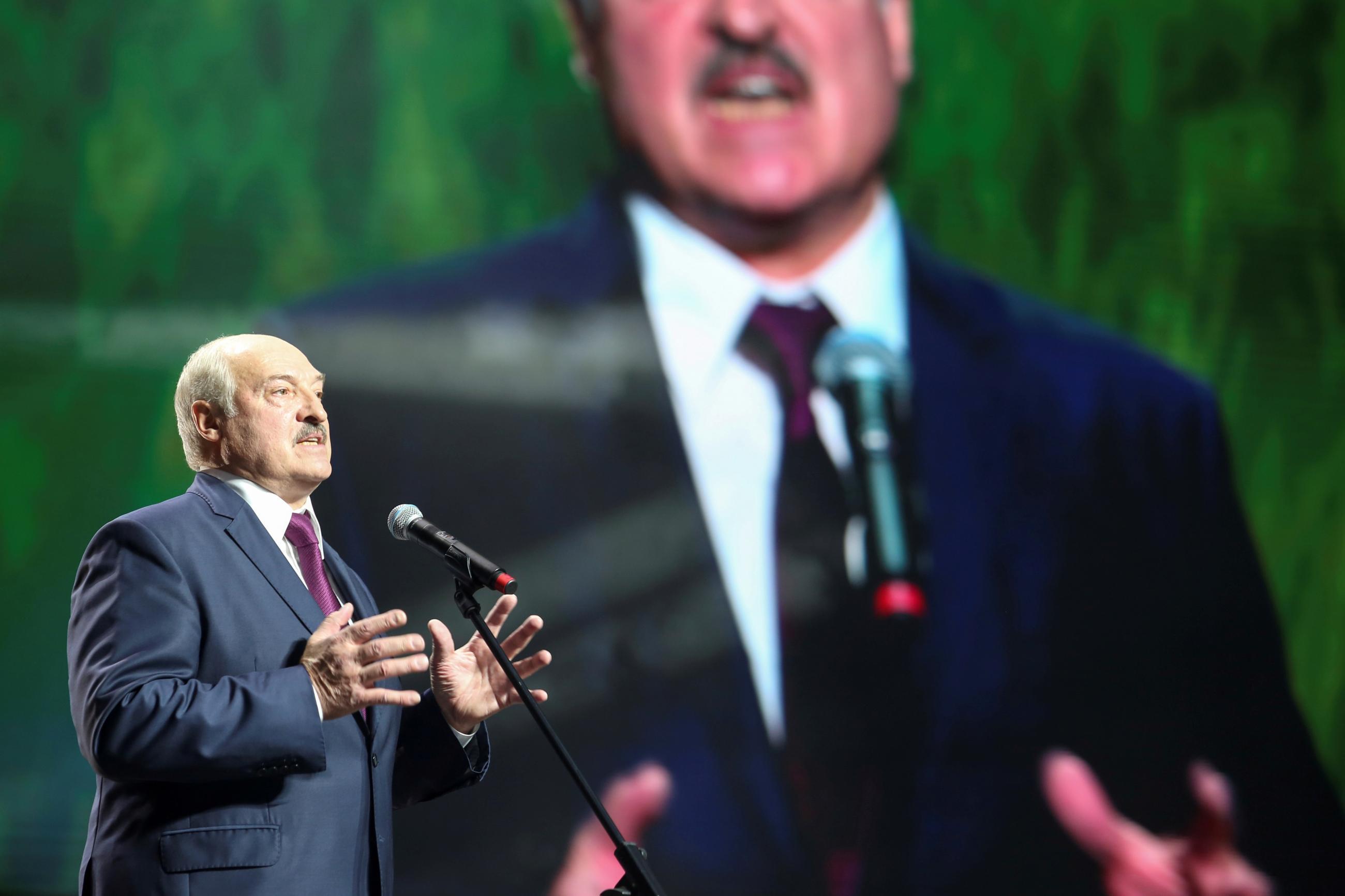 Belarusian President Alexander Lukashenko speaks at an event in Minsk, Belarus, September 17, 2020.