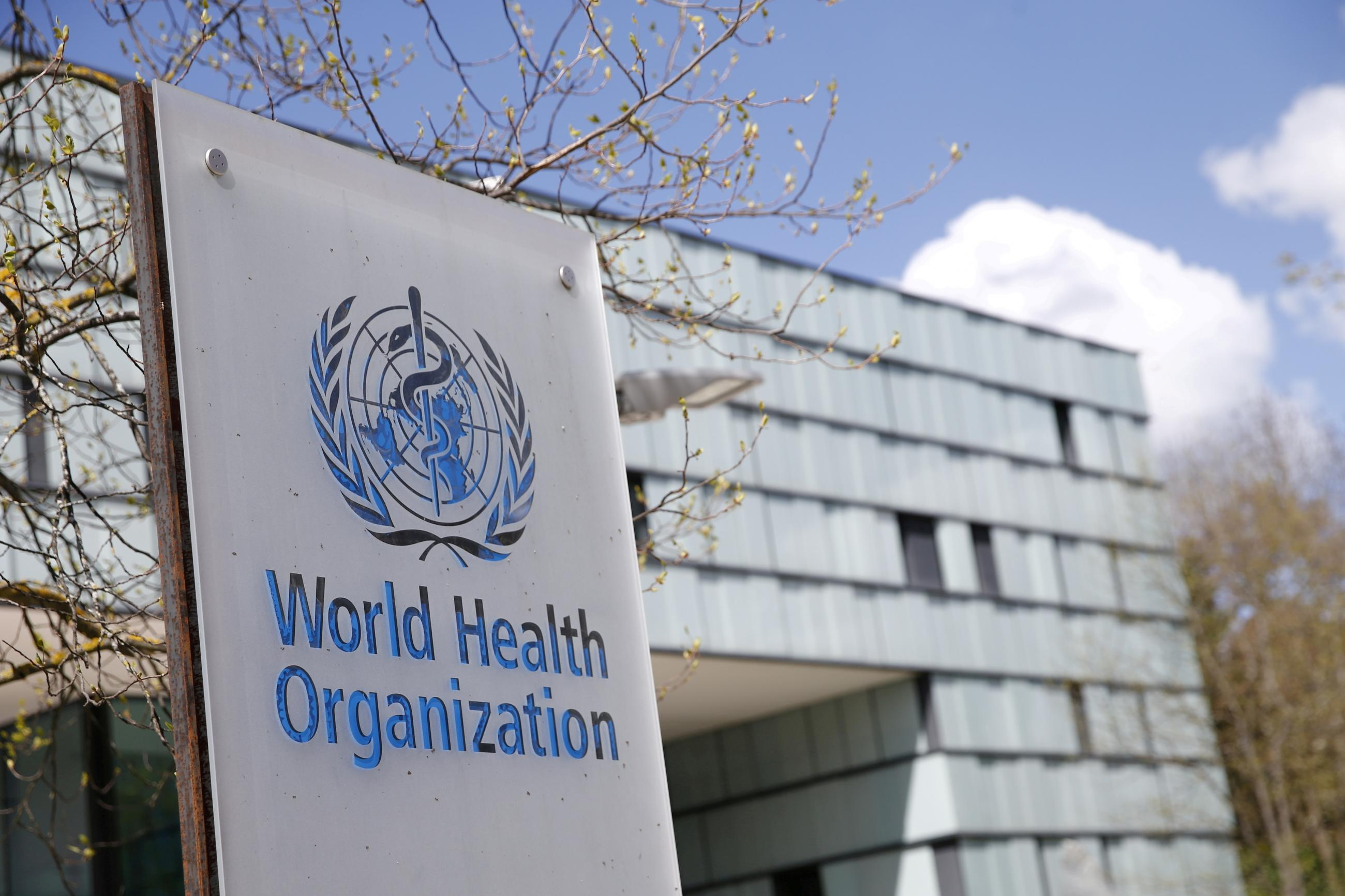 A logo is pictured outside a building of the World Health Organization (WHO) during an executive board meeting on update on the coronavirus disease (COVID-19) outbreak, in Geneva, Switzerland, April 6, 2021