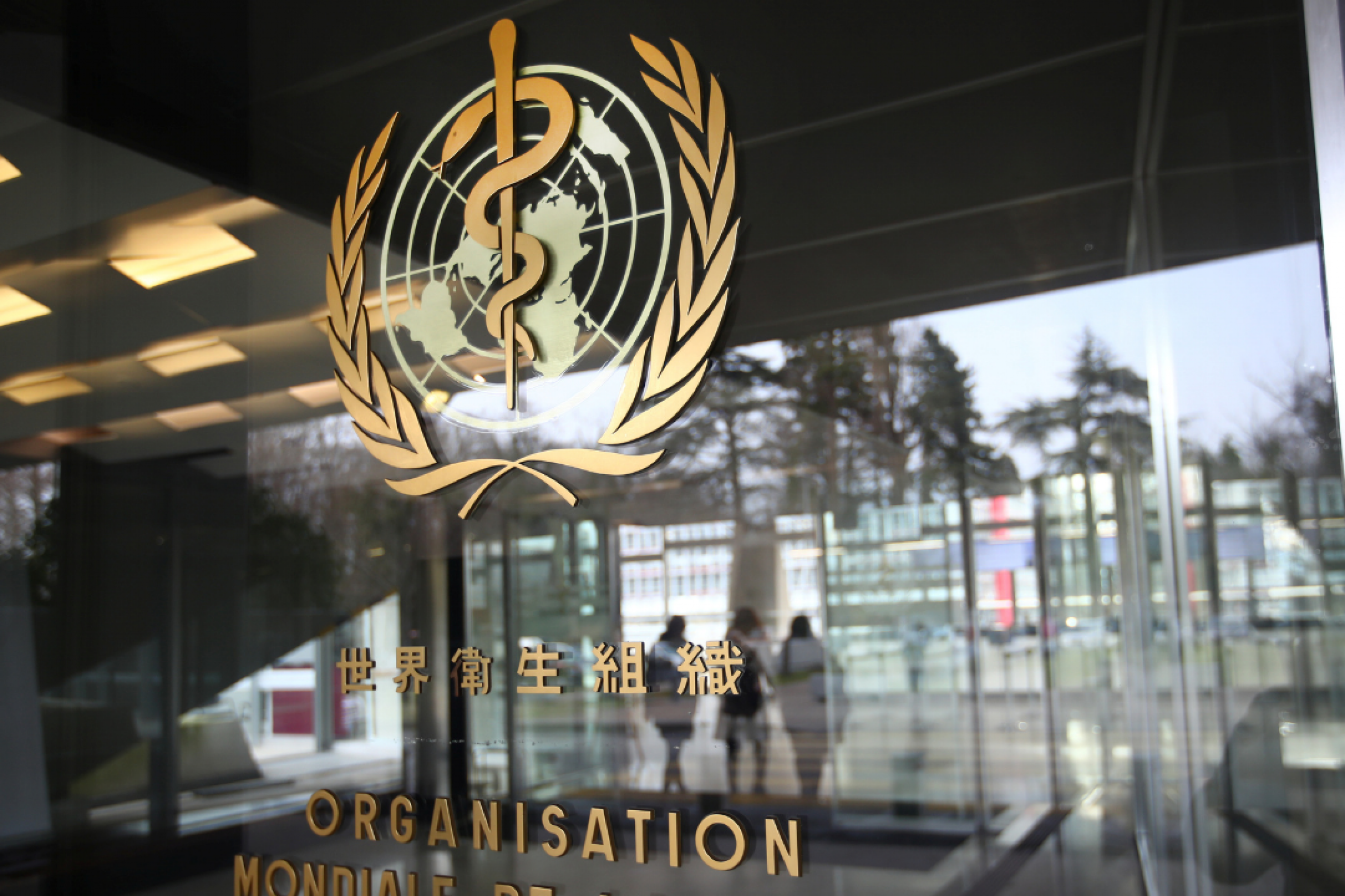 A gold World Health Organization logo in several languages on the glass door of a WHO building in Geneva in February 2021.