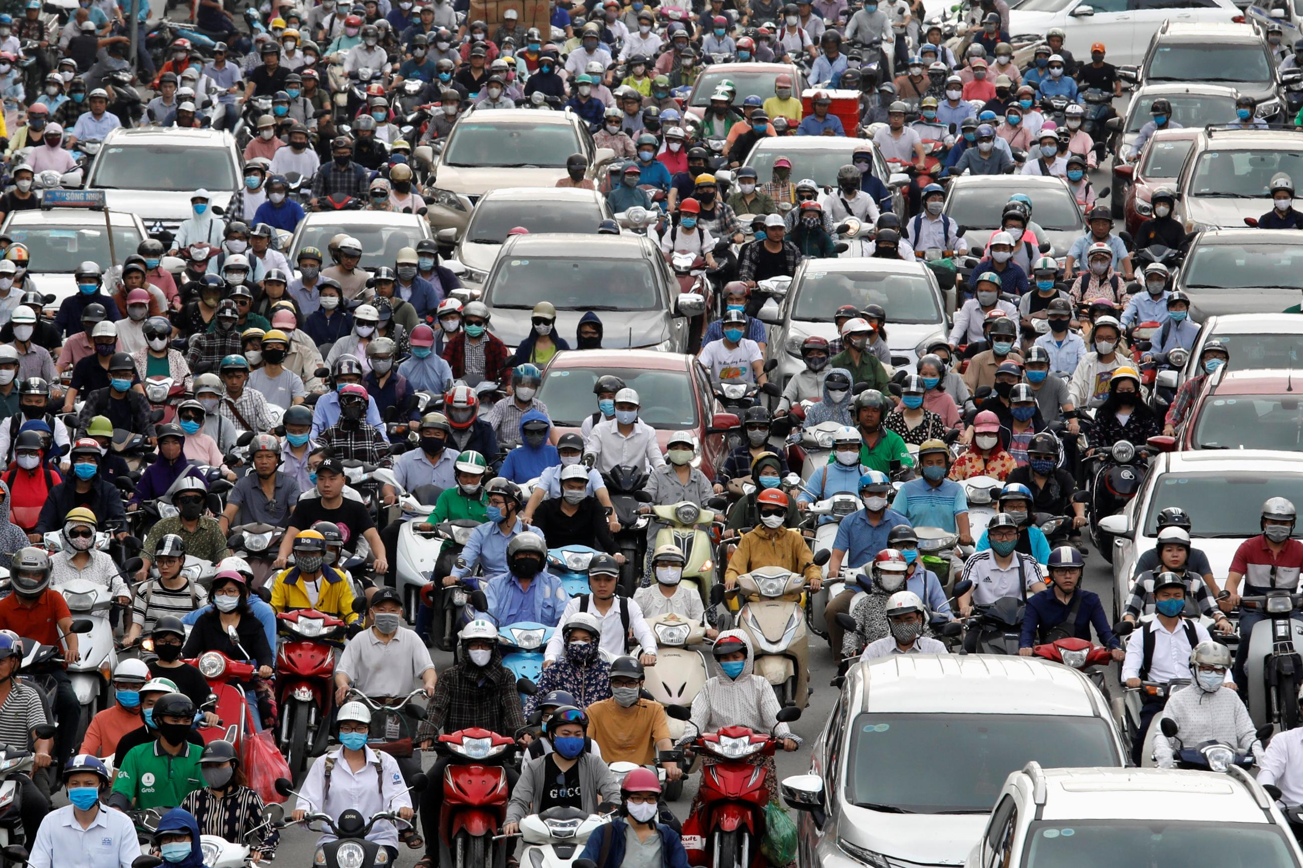 Traffic jam is seen in morning rush hour after the government eased nationwide lockdown following the coronavirus disease (COVID-19) outbreak in Hanoi, Vietnam May 25, 2020.