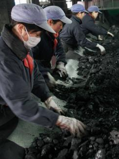 The picture shows eight women, four-by-four, in work clothes and thick gloves picking through black chunks of coal and cinder as it rolls past on a conveyor. One is wearing a simple dust mask. The others are not.