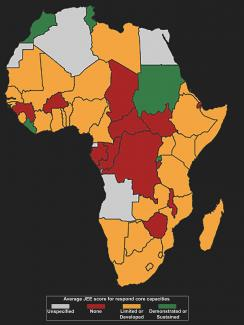 Photo shows a map of Africa with different countries colored one of four colors according to the data.