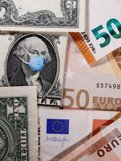 The photo shows a bunch of paper money, dollars and euros, with a blue surgical-style mask on one of the bills.