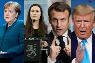The composite photo shows the four leaders speaking variously at podiums in their countries.