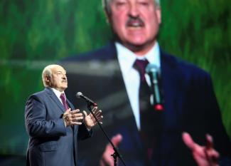 Belarusian President Alexander Lukashenko speaks at an event in Minsk, Belarus, September 17, 2020.